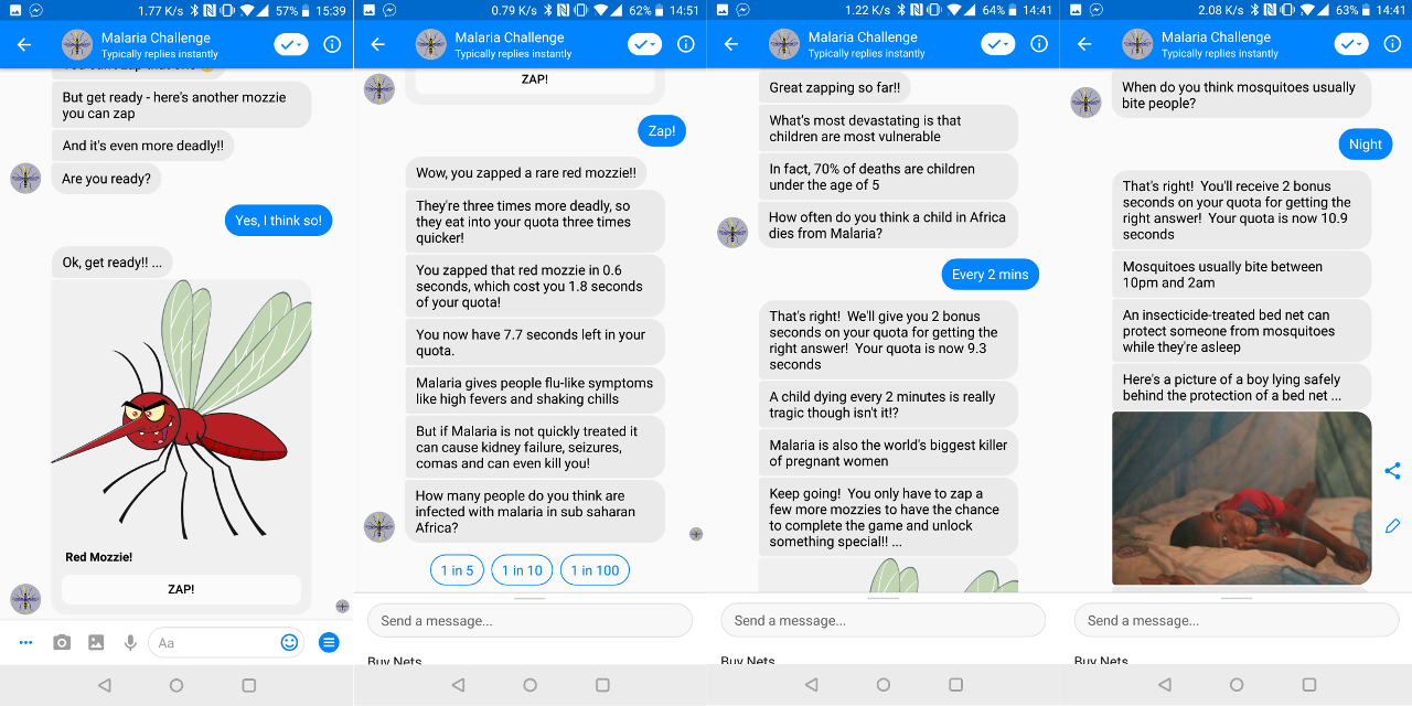 Screenshots of the Malaria Challenge Chatbot